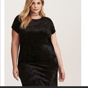 Torrid velvet crusher shift dress cap sleeve 00